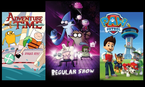TV shows and movies for kids like Adventure Time, Regular Show, and Paw Patrol