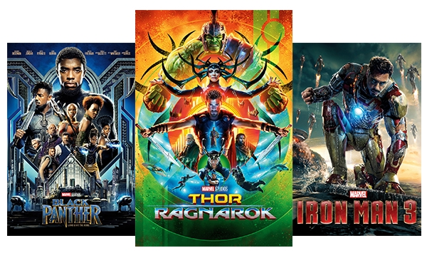 Black Panther, Thor Ragnarok, Iron Man 3