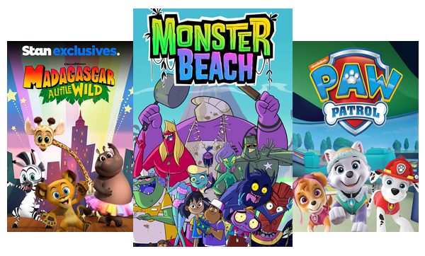 TV shows and movies for kids like Madagascar: A Little Wild, Monster Beach and Paw Patrol.