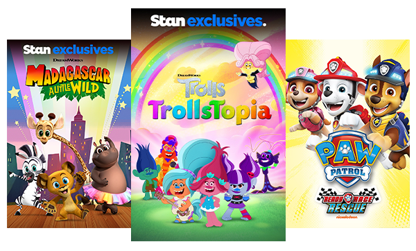 TV shows and movies for kids like Madagascar: A Little Wild, TrollsTopia and Paw Patrol.