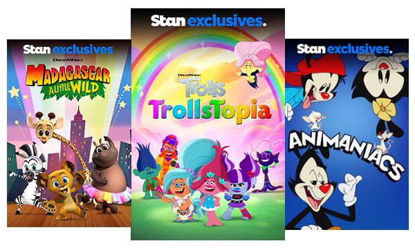 TV shows and movies for kids like Madagascar: A Little Wild, Trolls: TrollsTopia, and Animaniacs