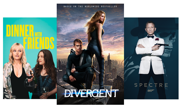 Blockbuster and classic movies like Dinner With Friends, Divergent and the Spectre.