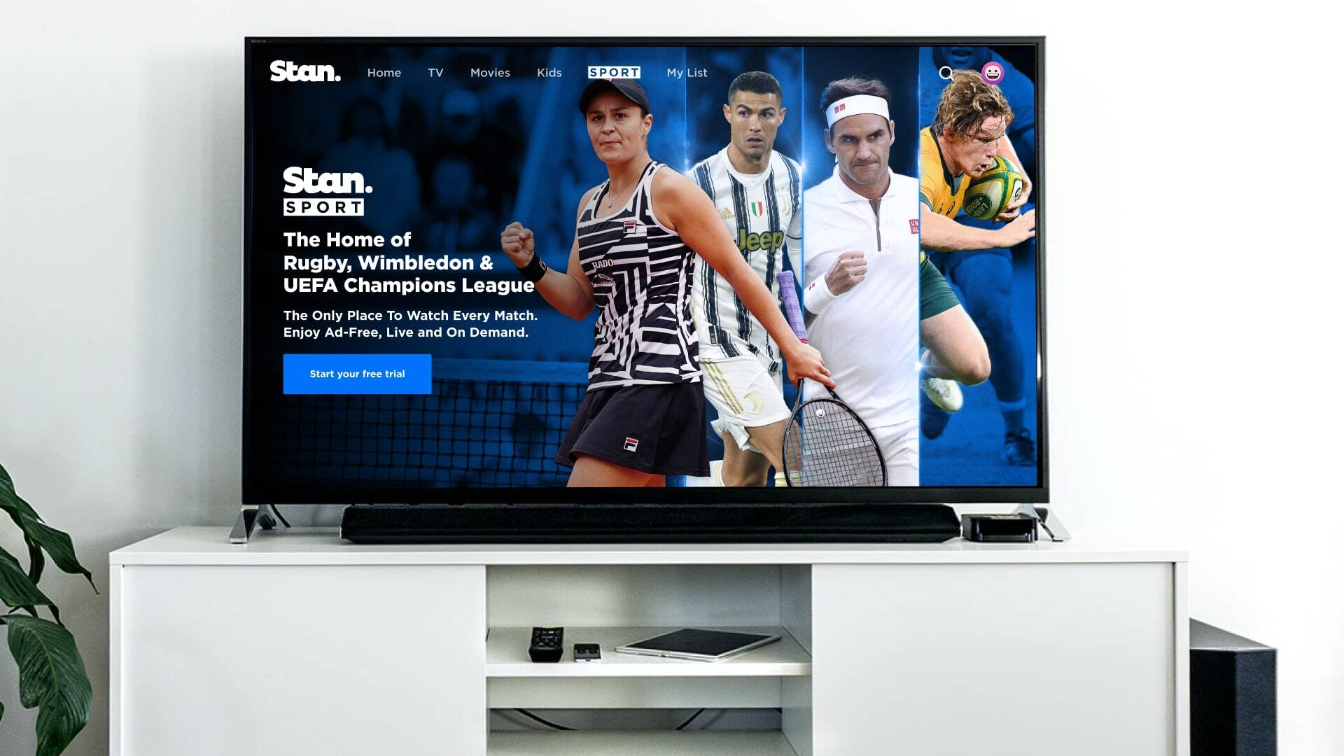 Stan Sport is the Home of Rugby, Wimbledon & UEFA Champions League.